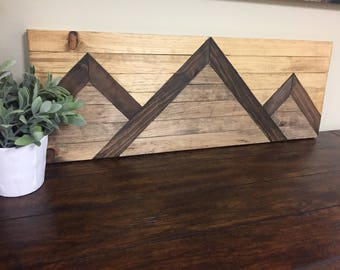 Small Mountain Range Wood Wall Art