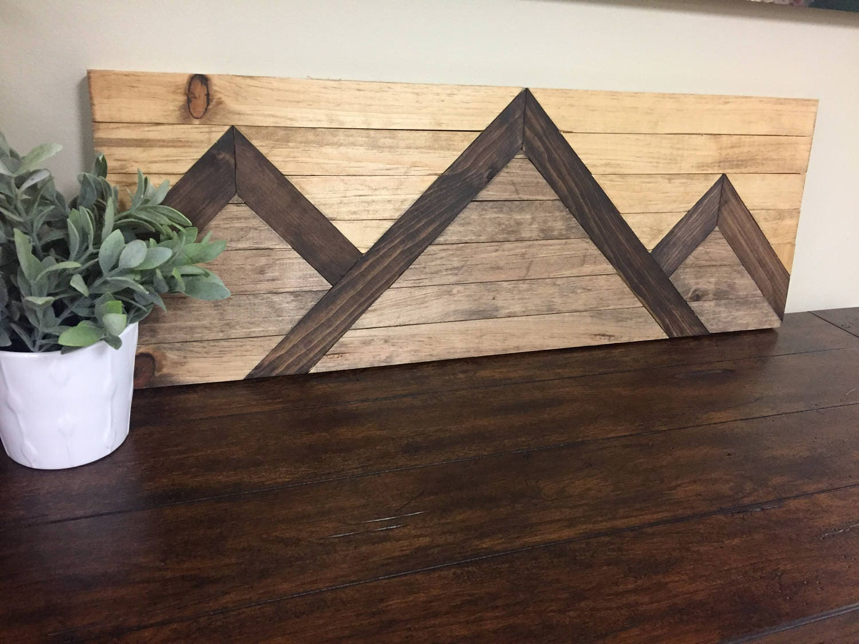 zoom Small Mountain Range Wood Wall Art