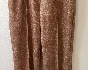 1970's Polyester /  High Waist / Elastic Waistband / Brown Speckled / Sewn  Down Front Pleats / Pants by Haband Size 10P