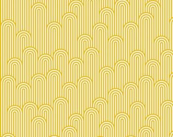 PRE-ORDER Tula Pink Zuma, Tower 7 in Glow Fish, Yellow and White Fabric, Yellow Stripe Fabric, Yellow Tula Pink Fabric, PWTP126.GLOWF