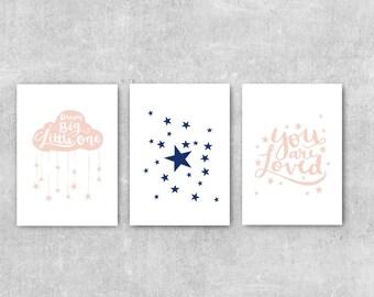 Navy and Pink Nursery Art, Baby Girls Room Decor, Set of 3 Prints, Gift For Girl, Girls Nursery Decor Set, Dream Big Little One