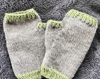 Knit fingerless gloves * fingerless mittens * womens * handmade * knit * striped * wool * wool blend