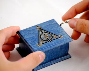 Harry Potter Deathly Hallows music box blue -  handmade wooden music box