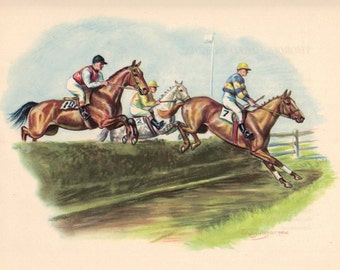 Color Horse Steeplechase Print by Edwin Megargee - Book Plate - Horses and Riders Jumping Over Hedge Obstacle Vintage Wall Hanging