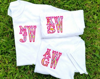 Under 20 dollars etsy short sleeve monogram youth shirt 4 in stack monogram applique personalized tshirt gifts for negle Image collections