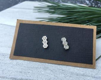 Triple Sterling Sparkle Hexagon Stud Earrings