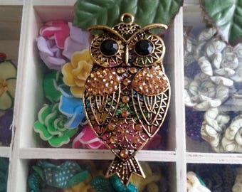 1 grand pendentif Tibetan Style Alloy Rhinestone Owl Big Pendants, Antique Golden, Topaz, 80x38x7mm, Hole: 4mm