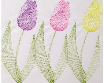 Tulip Flowers Embroidery Design Machine Embroidery Files in pes, dst, exp, vip, jef, hus and vp3 Formats - Instant Download
