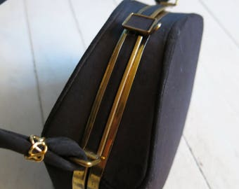40s purse box black golden Old Hollywood glamour