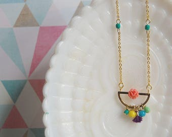 bright gypsy cluster half circle necklace with vintage rose detail- tassel accent- gold plated