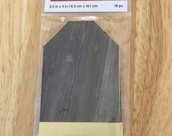 """Brown Wood Grain with Gold Foil Gift Tags size 2-1/2"""" x 4"""" 18 tags Craft Smart favor tags / party tags / hang tags / product tags / wish tag"""