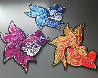 Iron-on Fish Large Embroidered Sequins Patch Applique
