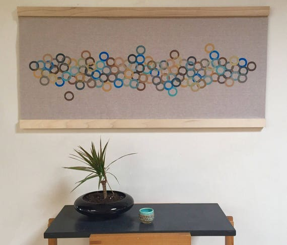 Modern retro wall art-handmade contemporary block printed fabric wall hanging