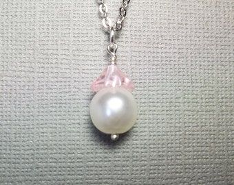 Pastel Pink Flower Pearl Necklace Bridesmaid Jewelry Pink Wedding Jewelry Bridesmaid Gift Sister