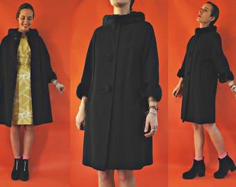 1950s / 1960s Black Persian Wool Coat with Mink Fur Collar & Cuff Trim