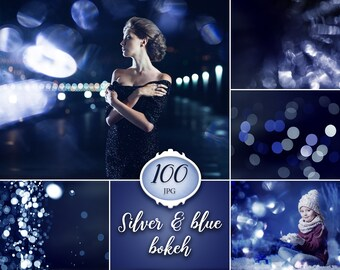 100 Silver & blue bokeh overlays, night bokeh, lights overlay, photoshop overlay, digital download, christmas, texture, instant dowload