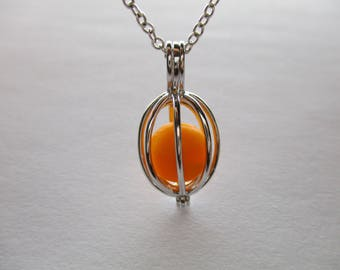 GENUINE SEA GLASS Necklace Sterling Silver Locket Flawless Rare Orange Swirl Vintage Bead Surf Tumbled Beach Seaglass Pendant Jewelry N 781a