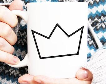 crown coffee mug, lineart cup