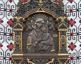 Christian Christmas Our Lady of Perpetual Help Wood carvings religious wall art orthodox  Icon Christmas gift for mom