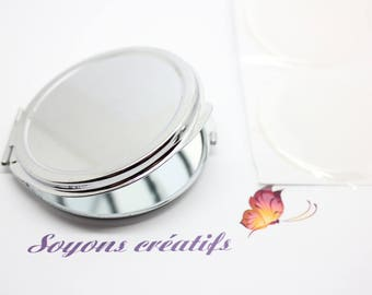 Mirror silver to customize it for 50mm or polymer clay, mosaic cabochon