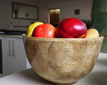 Sand Storm - Large stoneware bowl with dynamic sandy glaze