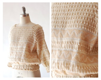 vintage cream textural woven sweater / size medium large