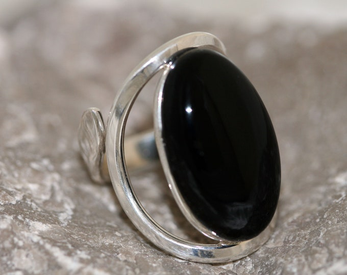 Impressive Deep Black Onyx Ring fitted in Sterling Silver setting. Handmade & Unique.