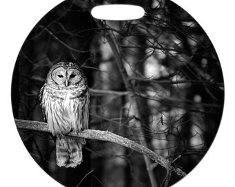 Luggage Tag - Barred Owl Photo - 2.5 inch or 4 Inch Round Large Plastic Bag Tag