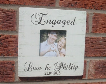 Engaged picture frame photo frame personalized  8x8 inch Engagement