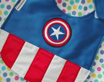 Captain America bib, Marvel bib, waterproof bibs, cotton bibs, handmade bibs, funny bibs, boy bibs, baby bibs, binky bib, custom bibs