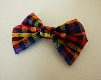Rainbow Plaid Bow Tie