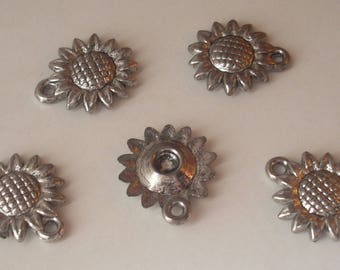 5 beads 17mm silver plated ccb sunflower charms