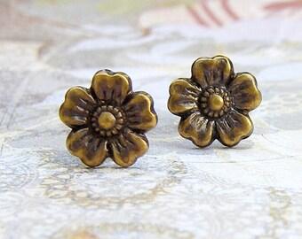 Antique Brass Cherry Blossom post earrings
