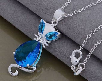 Crystal Cat Necklace with Sterling Silver Necklace, Birthday, Graduation, Wedding