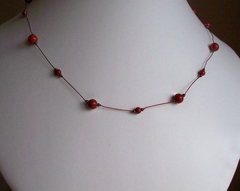Red Jasper Knotted Necklace ~ carefuly hand knotted