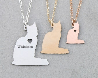 Cat Necklace Kitty Jewelry • Cat Lover Gift Personalized Cat Charm • Fluffy Cat Pendant Memorial Cat Loss Pet • Longhaired Cat Jewelry