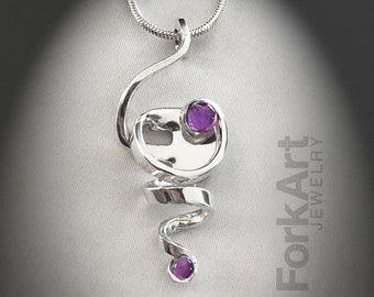Sterling Silver Fork Pendant with 2 Amethyst Cabochons