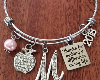 PERSONALIZED Teacher Bracelet, Teacher Gifts, End Of Year Teacher Gifts, Teacher Appreciation Gift, Teacher Jewelry, Teacher Gift Ideas