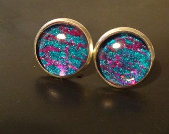 Electric blue Glass stud earrings