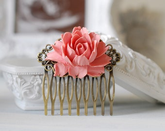 Dusky Pink Powder Pink Rose Flower Wedding Bridal Hair Comb. Pink Wedding Hair Accessory, Flower Brass Filigree Hair Comb, Bridesmaid Gift