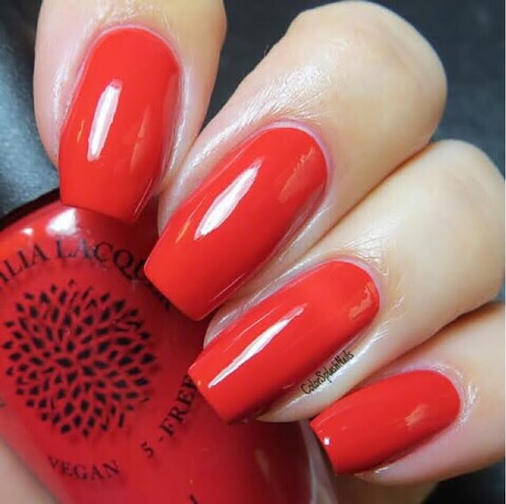 Red Creme Nail Polish By Black Dahlia Lacquer Ruby Blooms