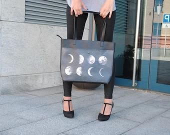 Large women bag. Big women bag. Tote bag with print. Black woman bag. Large women bag with print. Large lady's bag. Tote bag with print moon