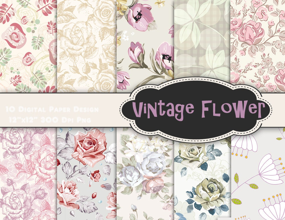 Instant download vintage flower digital paper shabby chic zoom mightylinksfo