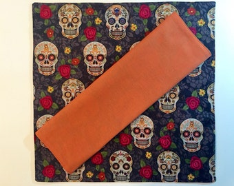 Sugar Skull Cloth Napkin Set, Day of the Dead Picnic Napkins Handkerchief, Halloween Napkins, Waldorf Preschool, Waste Free Lunch,
