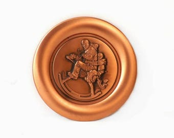 Vintage Copper Collector Plate 1978 Norman Rockwell, The Christmas Gift, Western Home Decor, Grandpa Riding Rocking Horse, Limited Edition