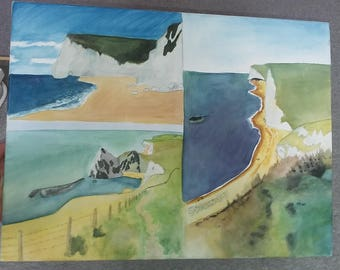 Watercolour ocean painting. Medium canvas. Drawn from photos taken by me on holidays.
