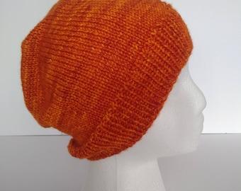 Orange, knit, slouchy, beanie, handknit, hat