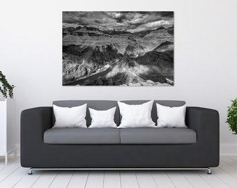 Black and White Grand Canyon Photo Print | Wall Art | Black and White Photography | (5x7, 8x10, 12x18, 16x24, 20x30, 24x36, 40x60)