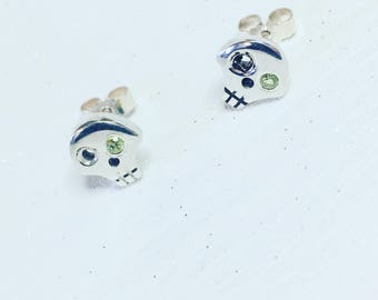 Sterling Silver Skull Stud Earrings *with a choice of gemstones*