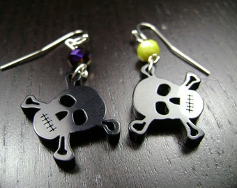 Pirate Skull and Crossbones Dangle Earrings in Purple Yellow and Black